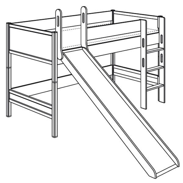 Spielbett mit gerader Leiter und Rutsche