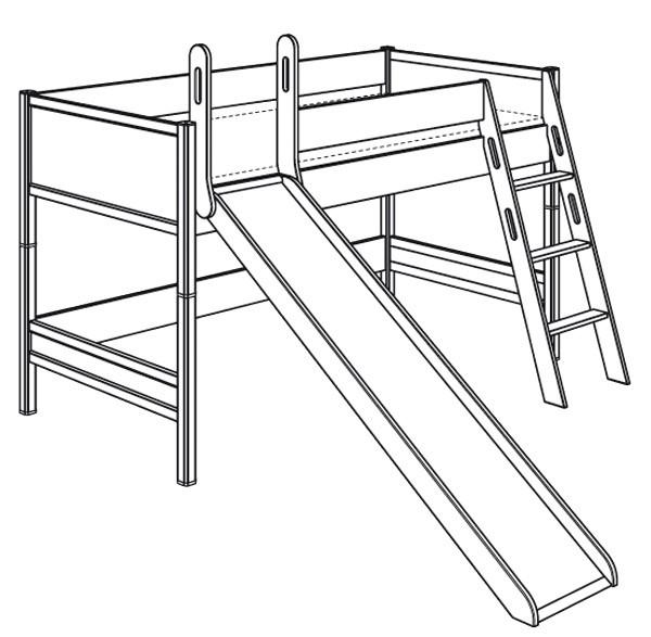 Spielbett mit schräger Leiter und Rutsche